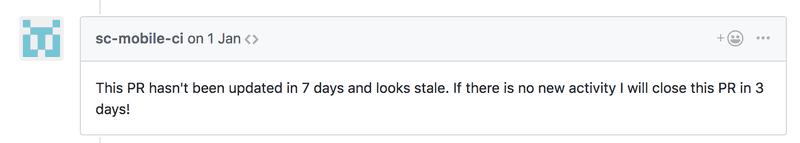 GitHub comment pointing to an outdated pull request